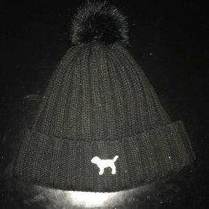 Pink Victoria's Secret puppy dog logo winter hat